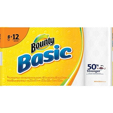Bounty® Basic Giant Roll Paper Towels, 66-count, 8 Rolls/Pack (92966/84697)