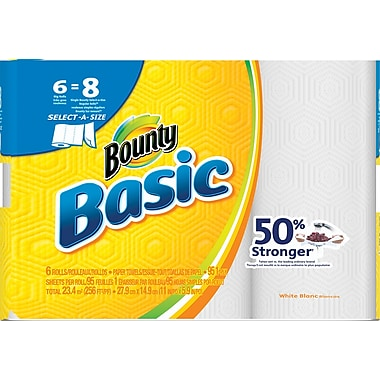 Bounty® Basic Select-A-Size Big Roll Paper Towels, 1-Ply, 95-count, 6 Rolls/Pack (92981/85591)