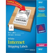 "Avery(R) White Shipping Labels with TrueBlock(R) Technology 5912, 5-1/2"" x 8-1/2"", Pack of 500"