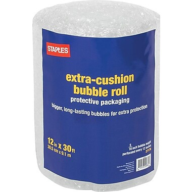 Staples® Large Bubble Roll, 12in. x 30'