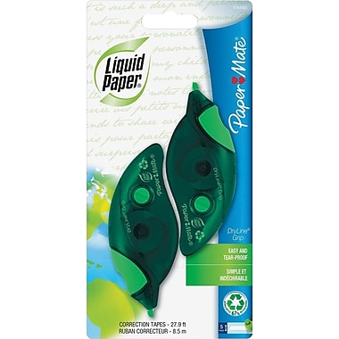Paper Mate Liquid Paper® Dryline Grip Correction Tapes, 1/5in. x 335in., 2/Pk