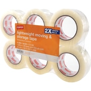 "Staples® Lightweight Moving and Storage Packing Tape, 1.88"" x 109 yds, Clear, 6/Pack (ST-A22L-6LW)"