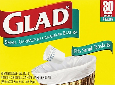 Glad Small Trash Bags 4 Gallon 30 Count