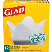 Glad® Tall Kitchen Quick-Tie® Trash Bags, 13 Gallon, 80 Count
