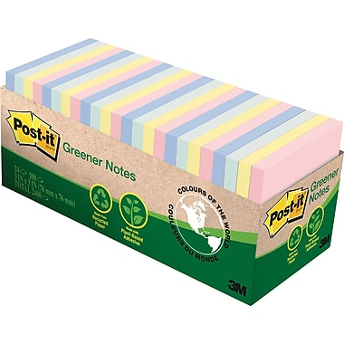 Post-it® - Feuillets Greener, Collection Helsinki, 3 po x 3 po, bloc/75 feuilles, paq./24