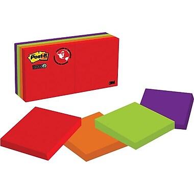 Post-it® - Feuillets adhésifs Super Sticky, Collection Marrakesh, 2 po x 2 po, bloc/90 feuillets, paq./8