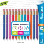 Paper Mate Mates Mechanical Pencils, 1.3mm, Colored Barrels, Dozen