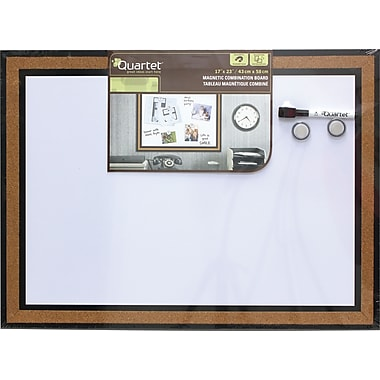 "Quartet Magnetic Combination Board with Cork Frame, 17"" x 23"""
