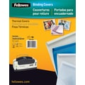 Fellowes Thermal Binding Presentation Covers, Letter, 1/4in., 60 Sheets, 10 Pack, White