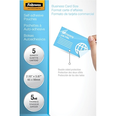 Fellowes Laminating Pouches - Business Card Size Self-Adhesive, 5 mil, 5 pack