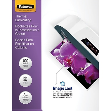 Fellowes Letter Size Thermal Laminating Pouches, 3 mil, 100 pack