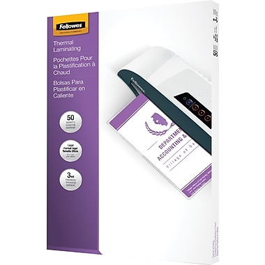 Fellowes Legal Size Thermal Laminating Pouches, 3 mil, 50 pack