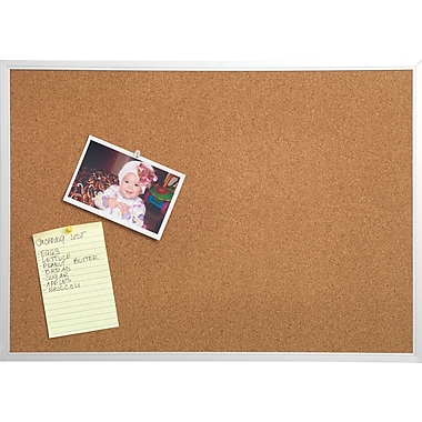 Staples® Cork Bulletin Board, Aluminum Frame, 3' x 4'