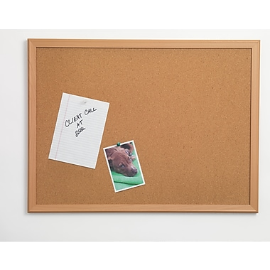 Staples® Cork Bulletin Board, Oak Finish Frame, 3' x 4'