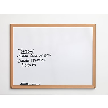 Staples®, 2' x 3', Melamine Dry-Erase Board with Oak Frame (75223B)