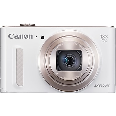 Canon® PowerShot SX610 HS Digital Camera, 20.2 MP, 18x Optical Zoom, White
