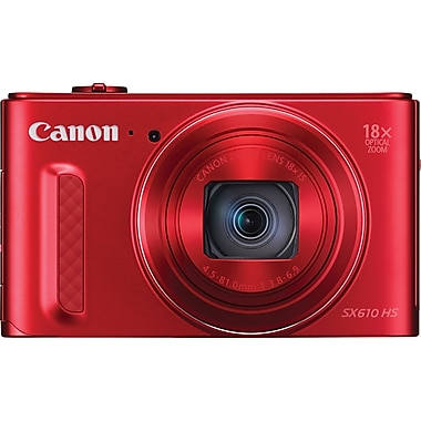Canon® PowerShot SX610 HS Digital Camera, 20.2 MP, 18x Optical Zoom, Red
