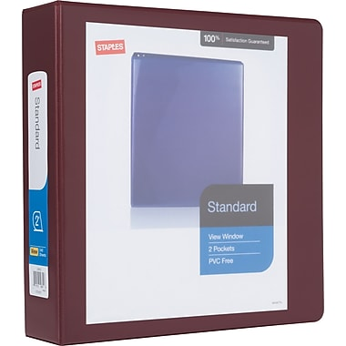 Staples® Standard View Binder with D-Rings, 2