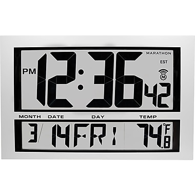 Marathon Jumbo Digital Atomic Wall Clock with Date and Temperature
