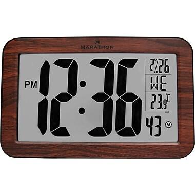 Marathon Self-Setting Panoramic Workstation Clock, Atomic, Wood Grain