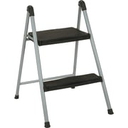 "Folding Step Stool, 2-Step, 200lb, 16 9/10"" Working Height, Platinum/black"