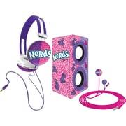 Candeez 3-in-1 Stereo Combo Pack (Headphones, Ear-Buds and Speaker) - Nerds