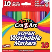 Cra-Z-Art Classic Super Washable Broadline Markers, 10/Pack