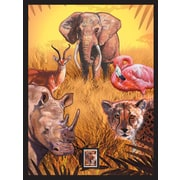 African Animals Framed Wall Art with Postage Stamp