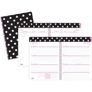 2015-2016 Staples® Large Academic Weekly/Monthly Planner, July-August, Black/White Dots, 8 x 11