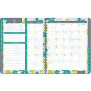 Blueline 2015 - 2016 Monthly Academic Planner, July - August, 14 months, 11 x 8-1/2, Soft Gray Cover