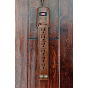 Invisiplug Shark Tank Deluxe Surge Protector,900 Joule,6 Outlets, 2 USB Ports & 3ft Cord, Dark Oak (IPDDO12)