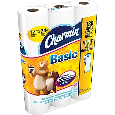 Charmin® 1-Ply Basic Bathroom Tissue, 12 Rolls/Pack