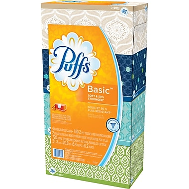 Puffs® Basic Facial Tissue, 4/Pack