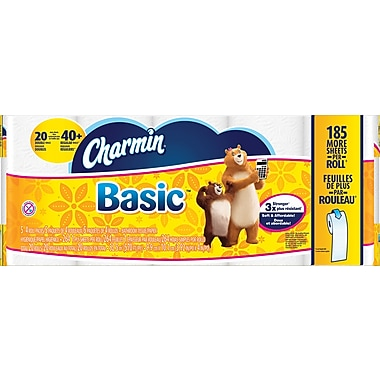 Charmin 1-Ply Basic Bath Tissue Rolls, 20 Rolls/Case