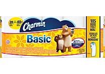 Charmin 1-Ply Basic Bath Tissue Rolls, 20 Rolls/Case