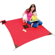 Shark Tank® Monkey Mat: Your Portable Floor, Red Coral, 5' x 5' portable nylon mat in attached ultra-compact pouch