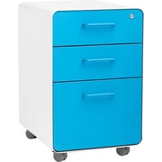 Poppin Stow File Cabinet Rolling Fully Loaded 3-Drawer, White + Pool Blue (101057)
