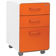 Poppin Stow File Cabinet Rolling Fully Loaded 3-Drawer, White + Orange (101055)