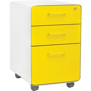 Poppin White + Yellow Fully Loaded Stow 3-Drawer Rolling File Cabinet