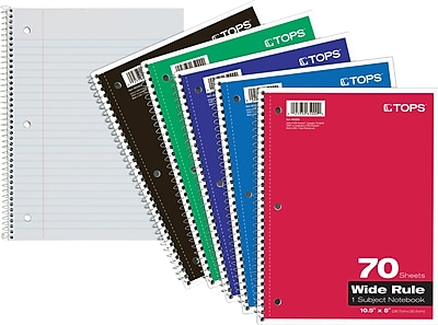 """TOPS® Wirebound 1-Subject Notebook, 10-1/2"""" x 8"""", Wide Rule, 70 Sheets per Book"""