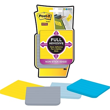 Post-it® Full Adhesive Notes, Lined Assorted Colours, 3