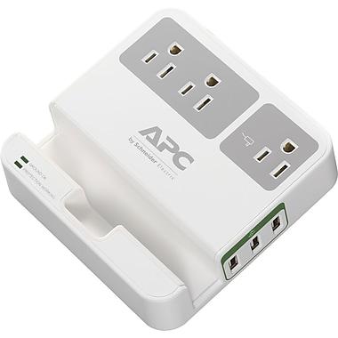 APC - Limiteur de surtension Essential SurgeArrest P3U3, 3 prises, 3 ports de charge USB, blanc