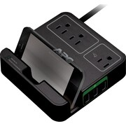 APC Surge 3 Outlet 3 USB Charging Ports, Black