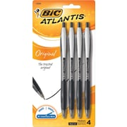 BIC® Atlantis® Retractable Ballpoint Pens, Medium Point, Black, 4/Pack