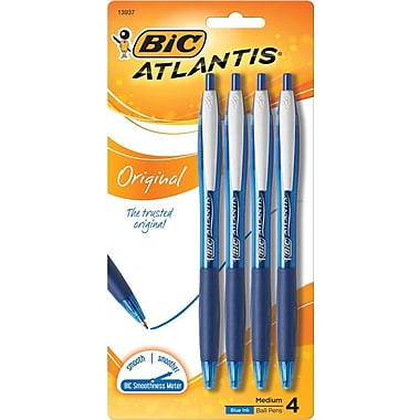 BIC Atlantis Retractable Ballpoint Pen, 1.0mm Medium Point, Blue, 4/Pack