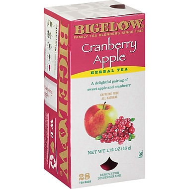 Bigelow® Cranberry Apple Herb Tea, Decaffeinated, 28 Tea Bags/Box