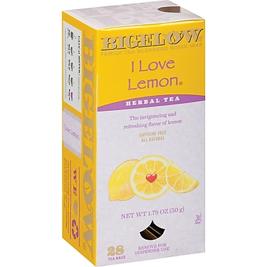Bigelow® I Love Lemon Tea Bags, Decaffeinated, 28 Tea Bags/Box