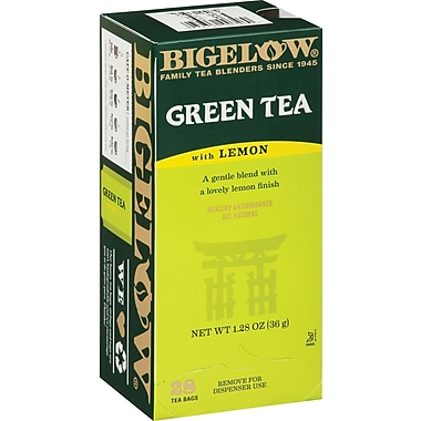 Bigelow® Green Tea with Lemon, Regular, 28 Tea Bags/Box