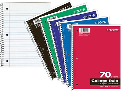 "TOPS 10 1/2"" x 8"" Wirebound 70 Sheet College Rule 1 Subject Notebook (65022)"