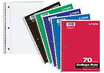 TOPS 10 1/2' x 8' Wirebound 70 Sheet College Rule 1 Subject Notebook (65022)
